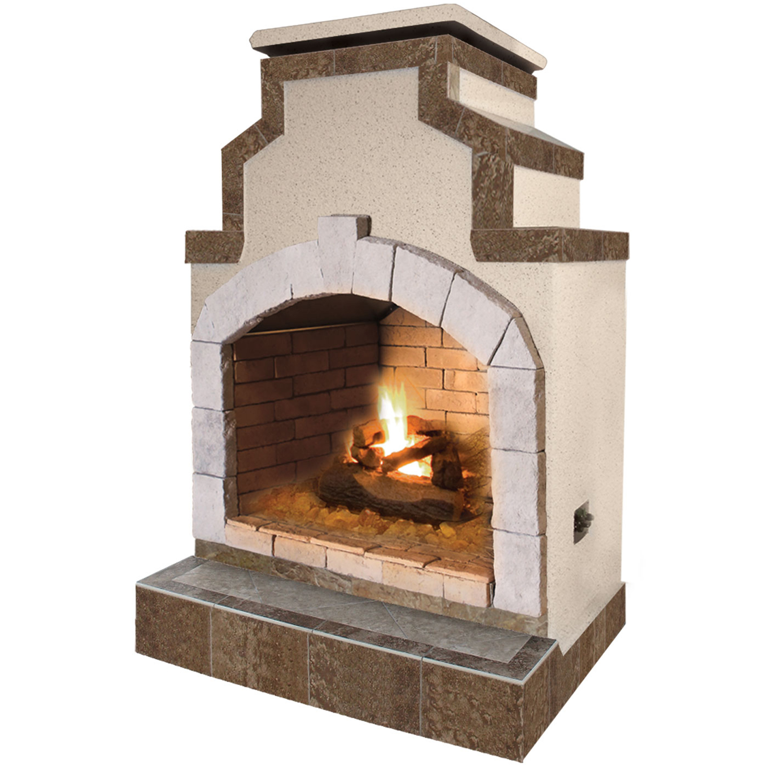 48 in. Propane Gas Outdoor Fireplace in Porcelain Tile by Lloyds Material Supply