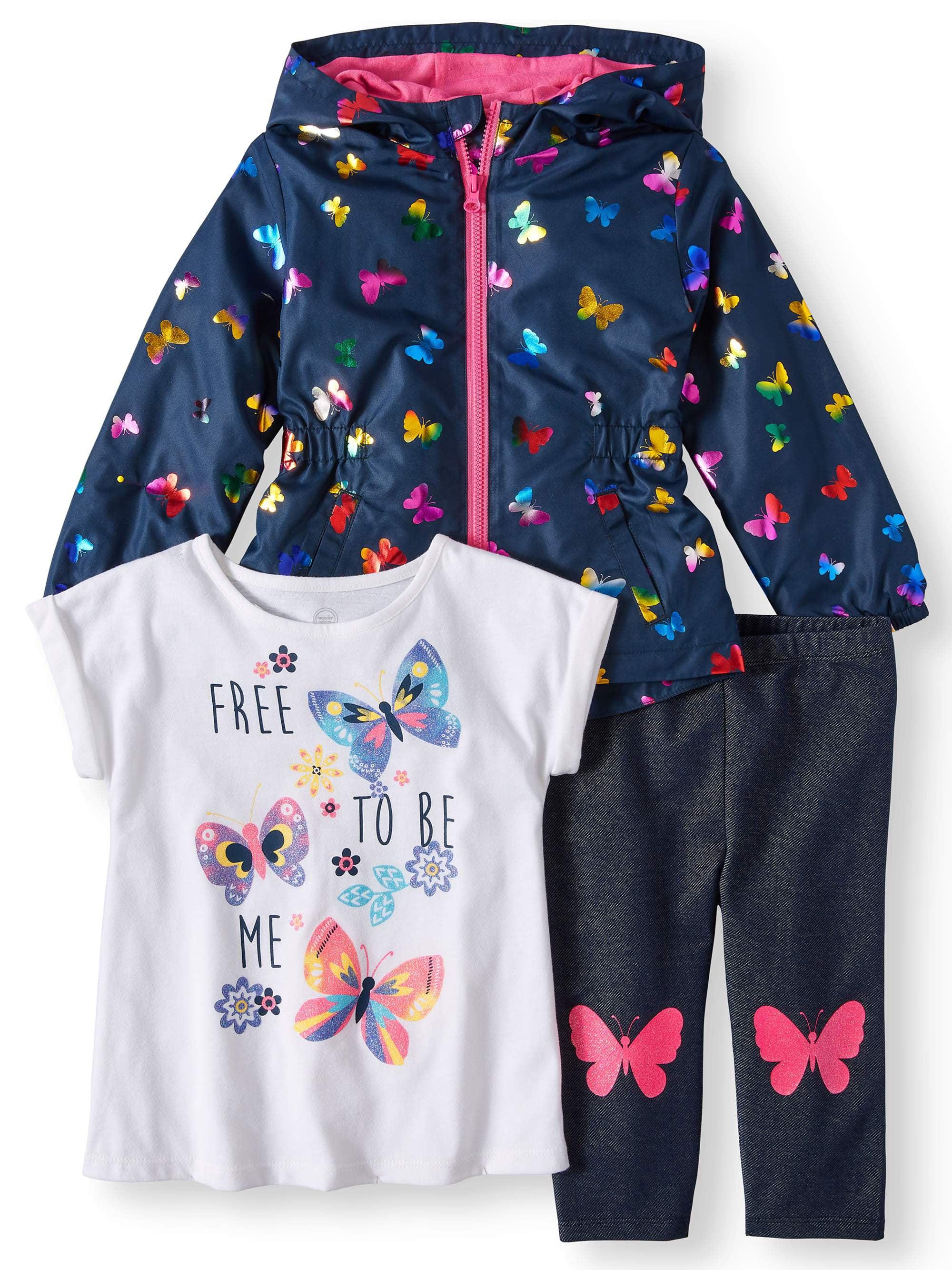 7a57b8e0 Wonder Nation - T-Shirt, Legging & Windbreaker, 3pc Outfit Set (Toddler  Girls) - Walmart.com