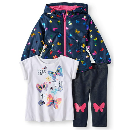 T-Shirt, Legging & Windbreaker, 3pc Outfit Set (Toddler Girls)