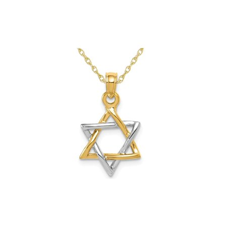 14K Yellow and White Gold Polished Star of David Pendant Necklace with Chain - image 3 de 3
