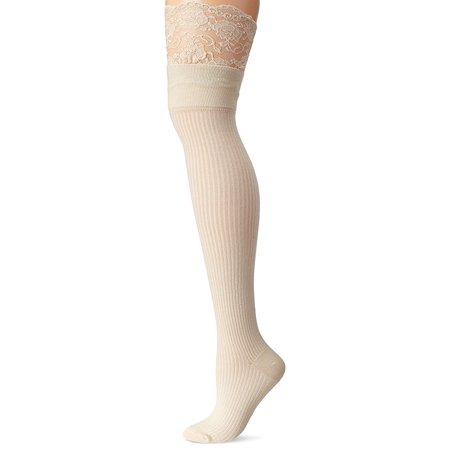 K. Bell Womens Mock Rib Lace Top Over the Knee Socks, 9-11, Pearled Ivory