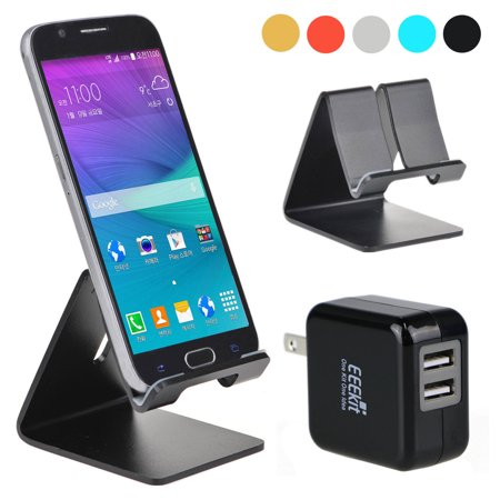EEEKit for Cell Phone and 7/8 inch Tablet iPhone,Aluminum Metal Desk Stand Dock Holder Mount+3 Port USB Wall Charger