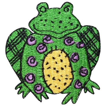 Id 0410 Cartoon Frog Stitched Patch Sitting Craft Embroidered Iron On Applique