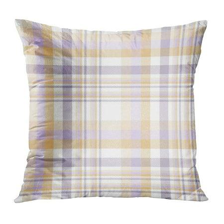 ECCOT Orange Border Tartan Plaid Pattern Traditional Checkered for Digital Purple Check Chequer Delicate Dusty Pillow Case Pillow Cover 18x18 inch - Orange Border Check