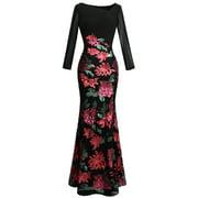 Angel-fashions Women's Long Sleeve Rose Pattern Sequin Black Formal Dress