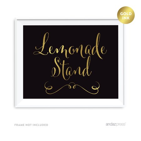 Lemonade Stand Black and Metallic Gold Wedding Signs