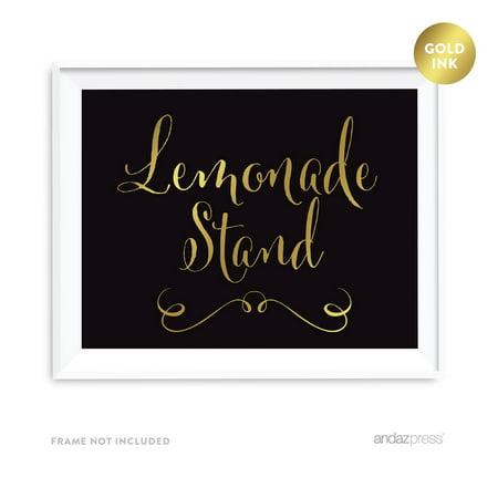 Lemonade Stand Black and Metallic Gold Wedding Signs