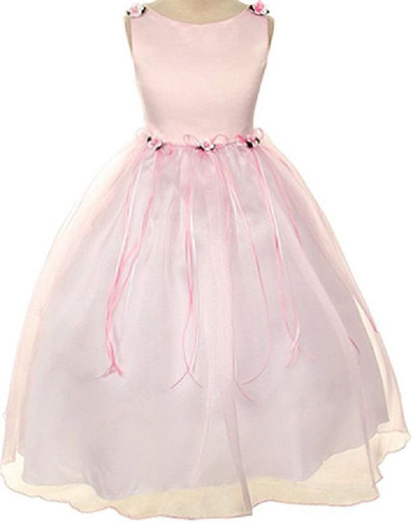 Rosebud Flower Bow Ribbons Little Girl Flower Girls Dresses