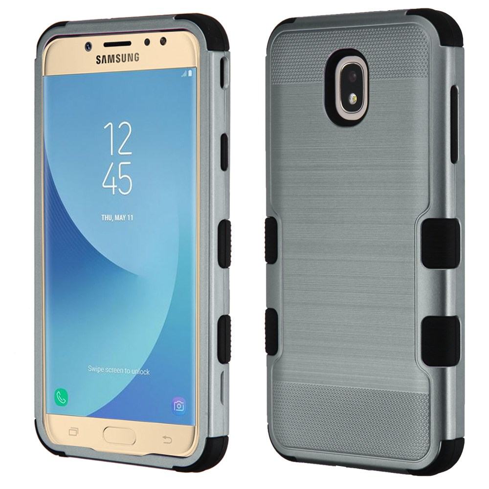 TUFF Hybrid Series Military Grade Certified Metallic Brushed Slate Finish Phone Protector Cover Case and Atom Cloth for Samsung Galaxy J7 Aero - Steel Blue