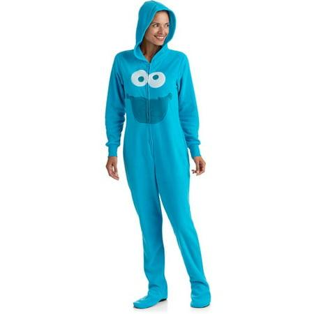 Licensed - Women s Cookie Monster 3D One-Piece Hooded Footie Pajamas -  Walmart.com 6758fed817