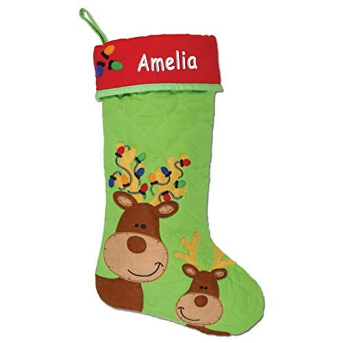 Personalized Reindeer Buddies Quilted Christmas Stocking