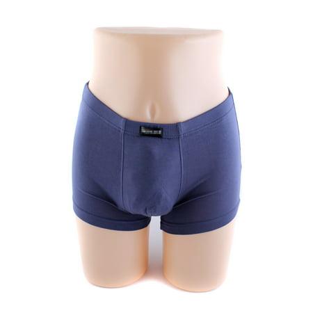Men's Solid Color Stretch Trunk Boxer Briefs Underwear Shorts Panties, Blue, L ()