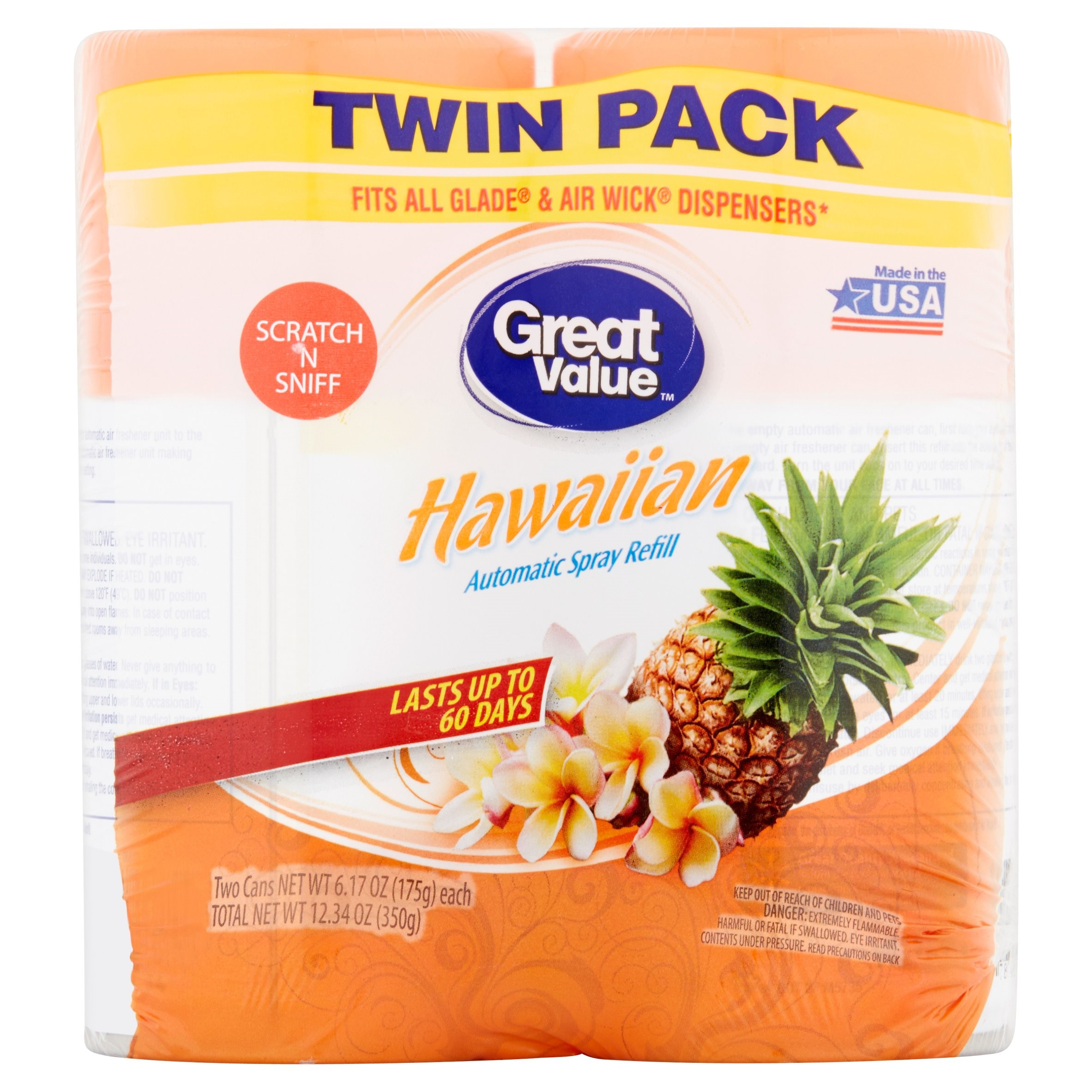 Great Value Automatic Spray Refill Twin Pack, Hawaiian Scent, 12.34 oz, 2 Count