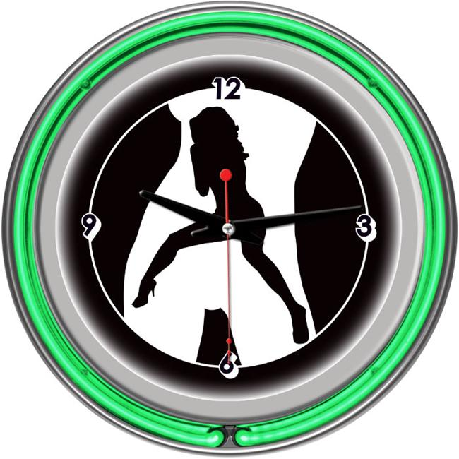 Shadow Babes - C Series - Clock with Two Neon Rings - Green