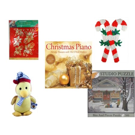 - Christmas Fun Gift Bundle [5 Piece] -  Touch of Gold 1-Step Iron-On Foil Poinsettias - Vintage 1960's Kage Co. Melted Popcorn Candy Cane -  Piano  Treasures with The O'Neill Brothers CD - Parkway To