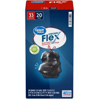 Great Value Strong Flex 33 Gal. Multi-Purpose Drawstring Bags 20 ct Box