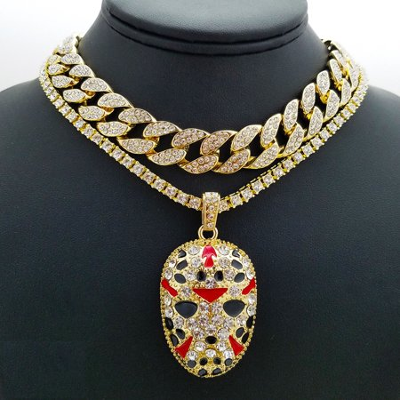 Hip Hop Slaughter Gang Simulated Diamond Pendant on Cuban Chain Necklace Set