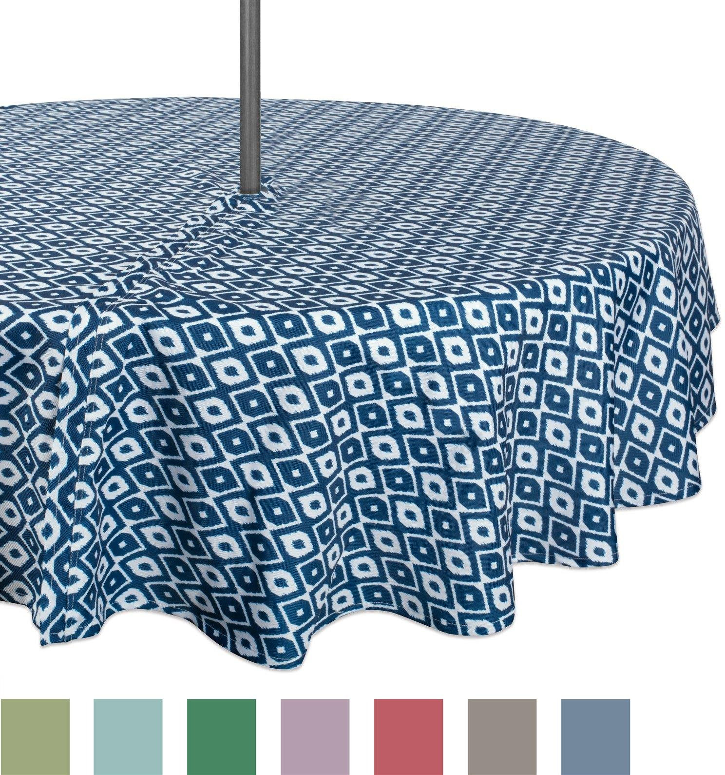 "Design Imports Casual Round Ikat Umbrella Outdoor Tablecloth, 52"" x 52"", 100% Polyester, Multiple Sizes"