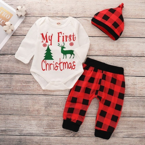 My First Christmas Newborn Baby Boy Girl Romper Pants Hat 3Pcs Outfit Clothes