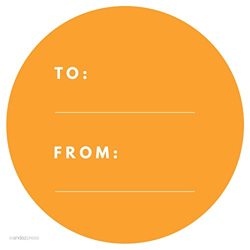 Orange Modern To/From Circle Gift Labels, 40-Pack