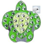 Bella Crystal Golf Ball Marker & Hat Clip - Turtle (Green)