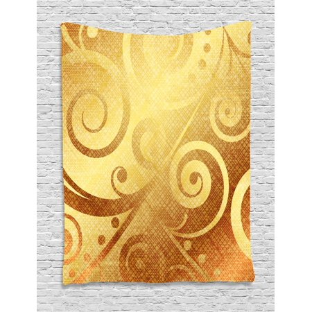 Modern Tapestry, Vector Canvas Design Floral Swirls Leaves Spring Nature  Inspired Image, Wall Hanging for Bedroom Living Room Dorm Decor, Earth  Yellow