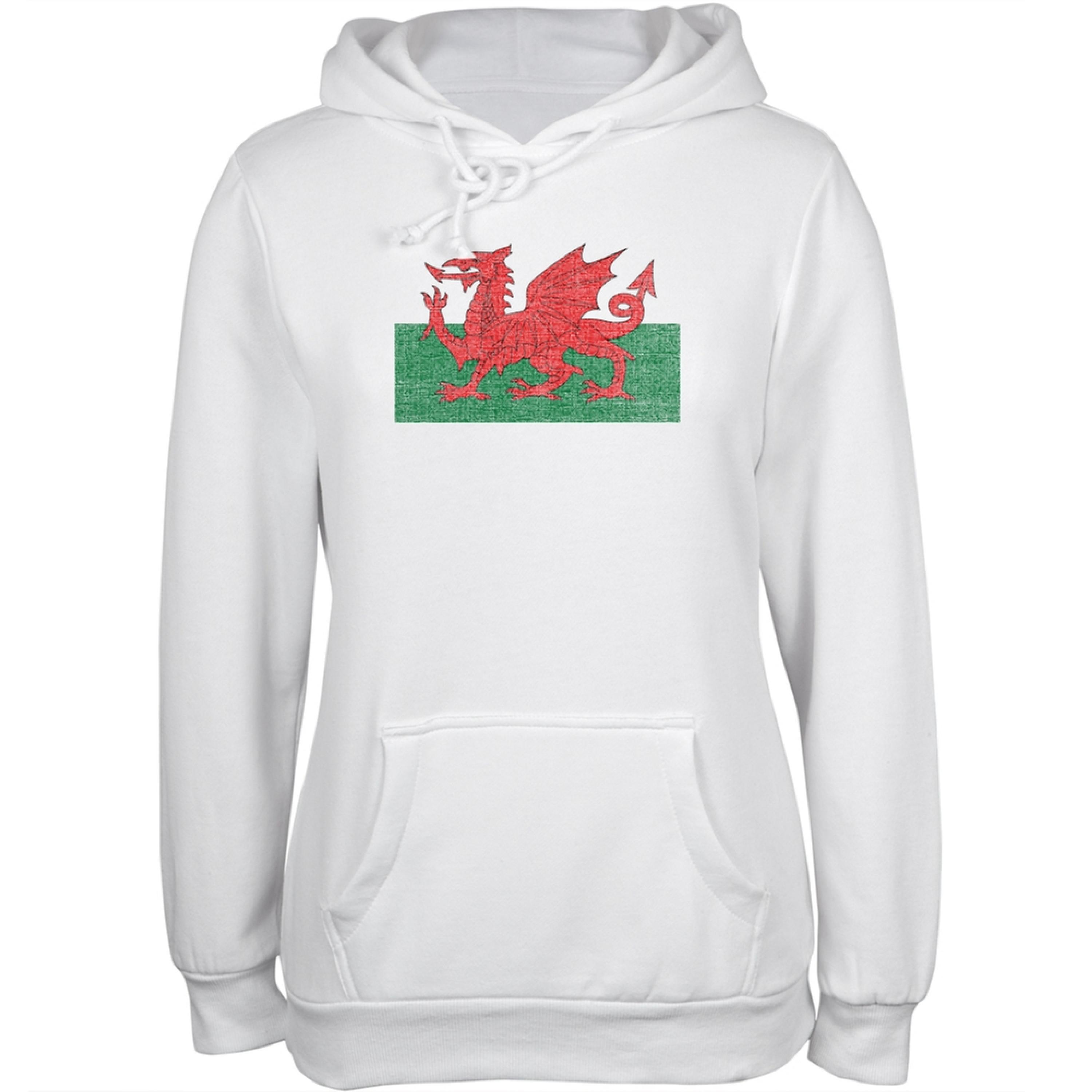 Welsh Flag Distressed White Juniors Soft Hoodie
