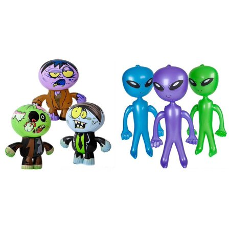 3 INFLATABLE ZOMBIES AND 3 ALIEN INFLATES by BUNDLE OF 6 ITEMS, 3 INFLATABLE ZOMBIES AND 3 INFLATABLE ALIENS By DISCOUNT PARTY AND NOVELTY
