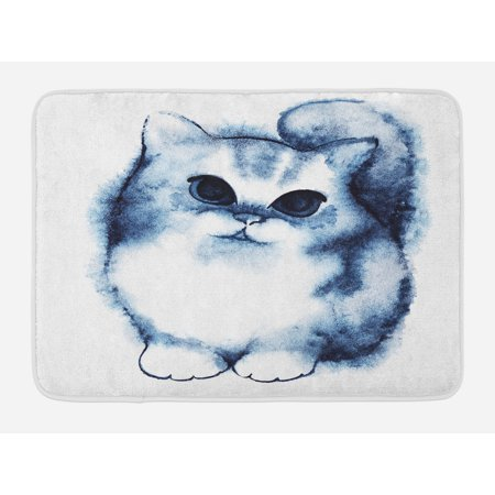 Navy Blue Bath Mat, Cute Kitty Paint with Distressed Color Features Fluffy Cat Best Companion Ever, Non-Slip Plush Mat Bathroom Kitchen Laundry Room Decor, 29.5 X 17.5 Inches, Grey White,