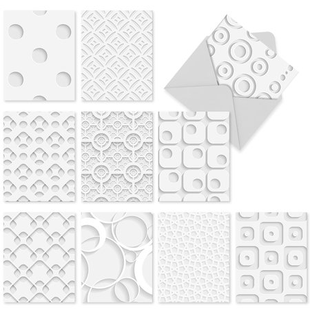 M2031 WHITE ON WHITE' 10 Assorted All Occasions Note Cards Featuring Dimensional-Looking Graphics with Envelopes by The Best Card (Best Graphics Card To Date)