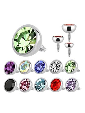 Labret Stud Top Jewelry Internally Threaded 16g Round Press Fit Surgical Steel