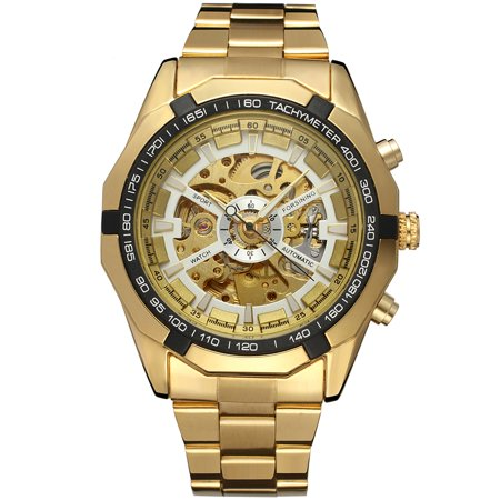 Forsining 340 Top Brand Automatic Mechanical Business Men Watch Skeleton Luxury Watch Luxury Fashion Military Stainless Steel Watch with Gift (Mechanical White Gold Pocket Watch)