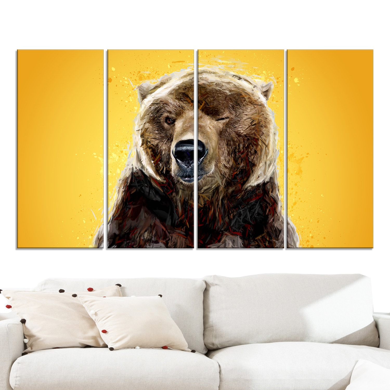 DESIGN ART \'Brown Bear - Yelllow\' Canvas Art Print - 60Wx32H Inches ...
