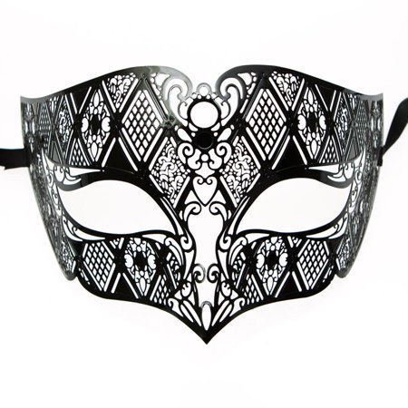 Men's Black Laser Cut Half Mask