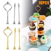 TSV 3 Tiered 10 Set Cake Stand Holder | Serving Rack for Parties | Round Platter Holder for Cupcakes Fruits Dessert | Cake Pop Stand | Pastry Serving Rack Platter for Tea Party, Wedding and Birthday