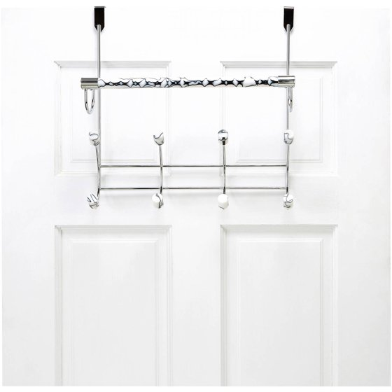Bath Bliss Marble Tube Over The Door 8-Hook And Towel Bar