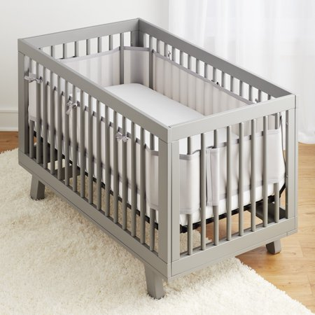 Breathable Baby Classic Breathable Mesh Crib Liner- Gray (Princess Crib Bumper)
