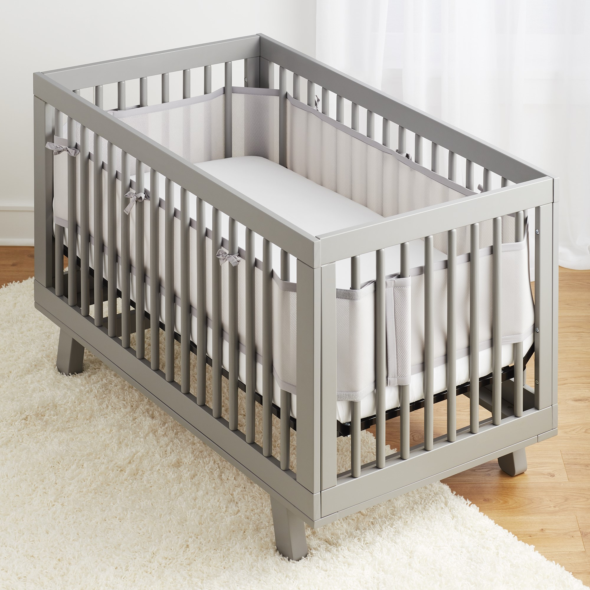 Breathable Baby Classic Breathable Mesh Crib Liner- Gray