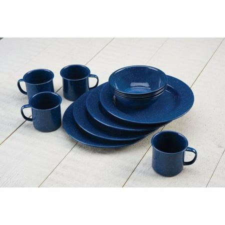 Coleman Enamelware Dining Set 12 Piece, Blue - Light Blue Dishes