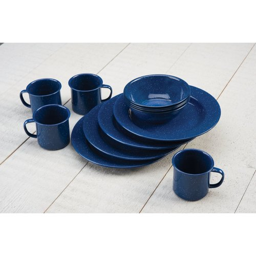 Coleman 12 Piece Enamelware Dining Set, Blue