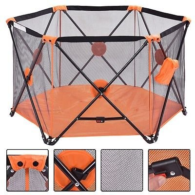 Baby Playpen Playard Portable Folding Outdoor Indoor Safety Free Standing-orange