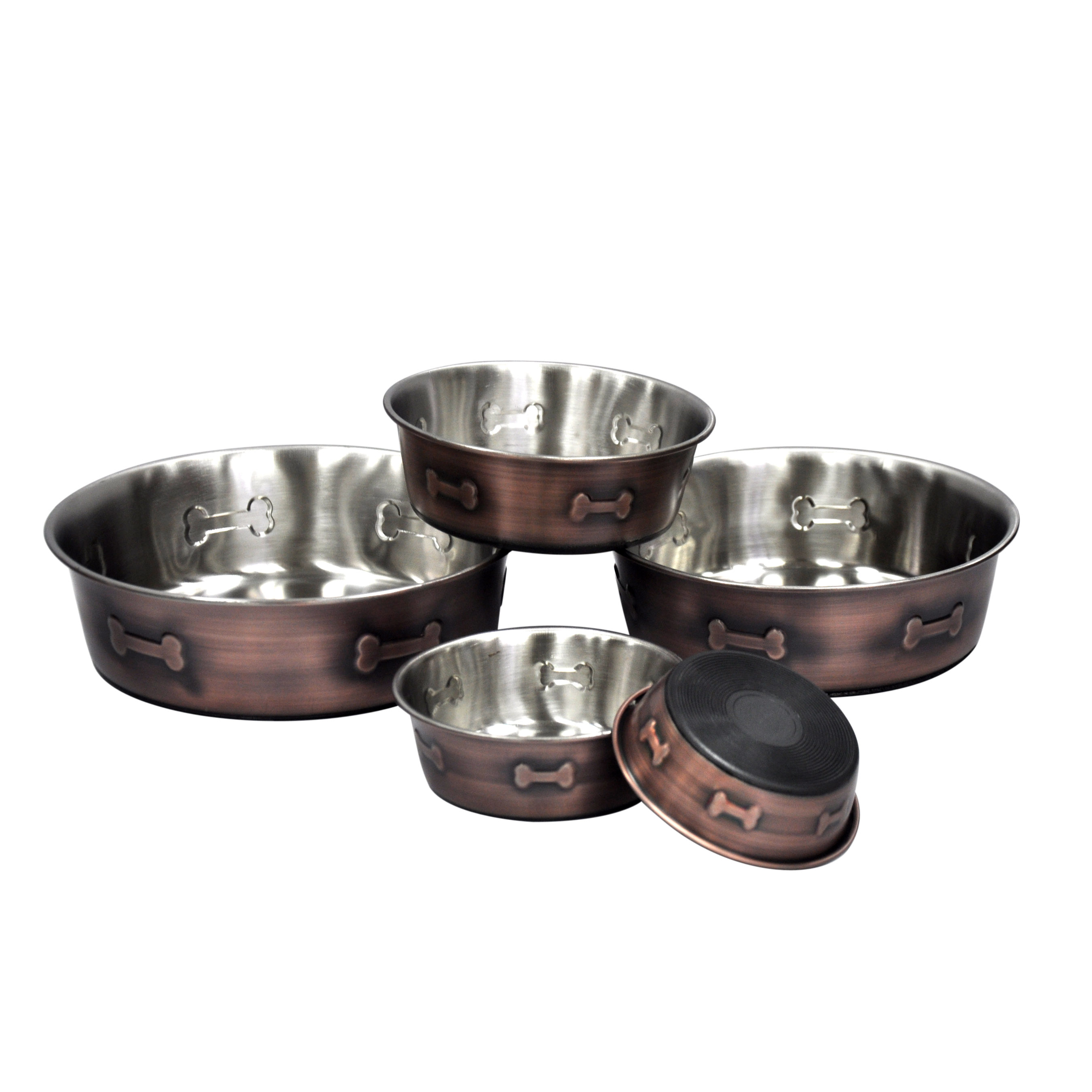 Stainless Steel Copper Bone Bowl, Large