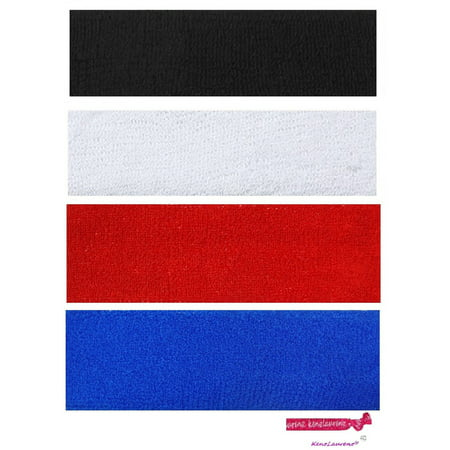 Kenz Laurenz Sweatbands 4 Terry Cotton Sports Headbands Sweat Absorbing Head Bands Basic Colors - 1960s Headbands