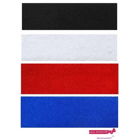 Kenz Laurenz Sweatbands 4 Terry Cotton Sports Headbands Sweat Absorbing Head Bands Basic Colors
