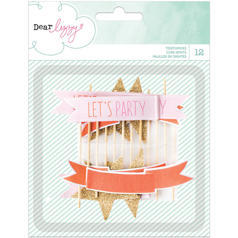 Dear Lizzy Fine and Dandy Glittered Toothpick Flags, 12pk