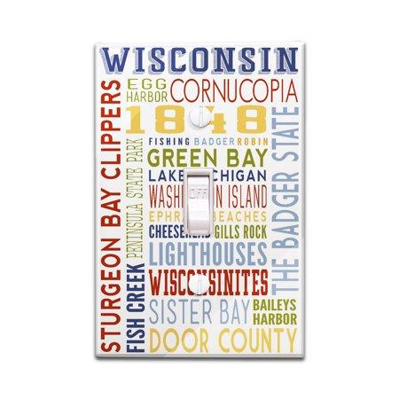 Cornucopia Figurine (Cornucopia, Wisconsin - Typography - Lantern Press Artwork (Light Switchplate Cover))