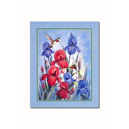 Hummingbirds in Red and Blue Flowers #2 Wall Picture 8x10 Art Print