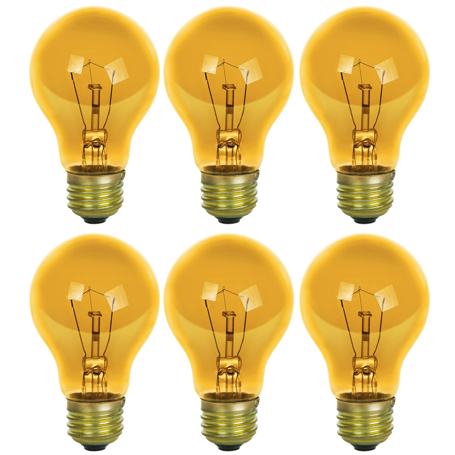 Pack of 6 2 Pack Sunlite Incandescent 25 W A19 Yellow Transparent  Light Bulb