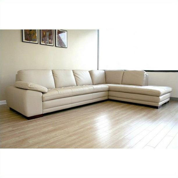 Diana Leather Sectional Sofa In Beige Walmart Com Walmart Com