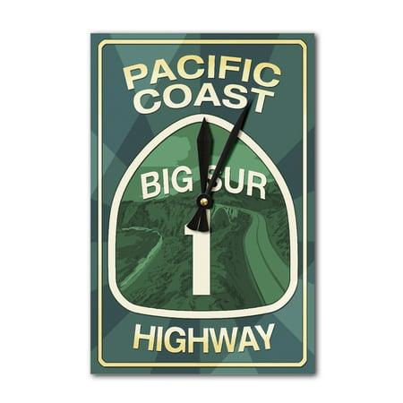 Highway 1, California - Big Sur - Pacific Coast Highway Sign - Lantern Press Artwork (Acrylic Wall Clock) Big Sur Coast Highway